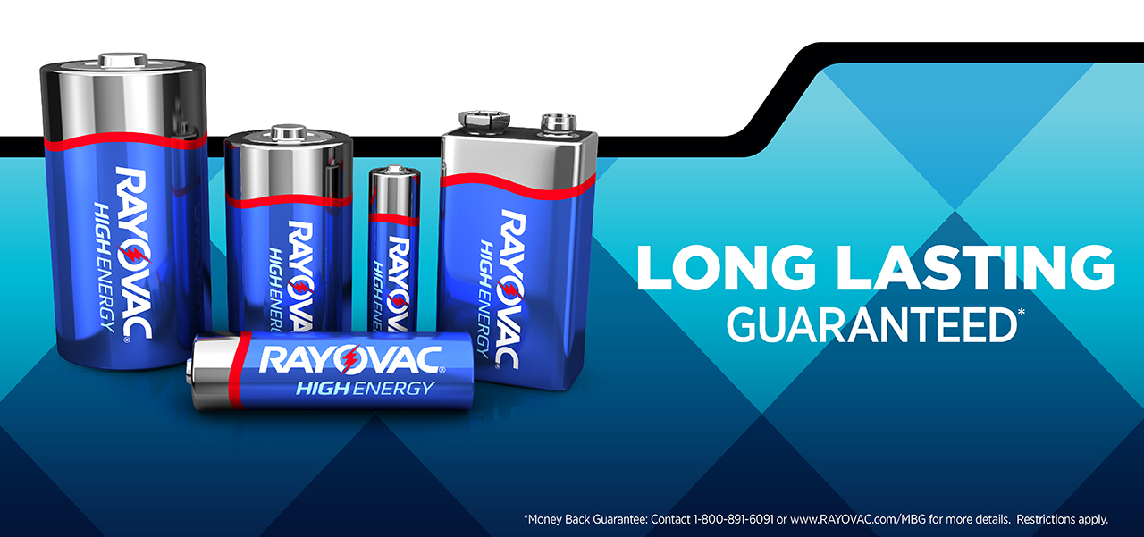 RAYOVAC® high energy long lasting guaranteed