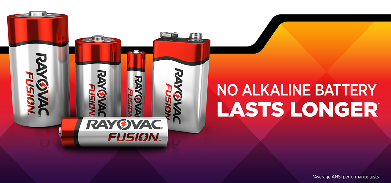 RAYOVAC® Fusion™ no alkaline battery lasts longer