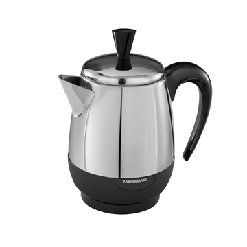 With this stainless steel 4-cup percolator from Farberware, you'll get the perfect small percolator for traveling with your brew.