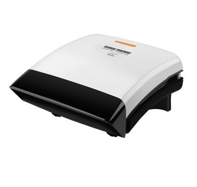 The Champ Grill GR0038W: Eating and grilling healthy foods with this small white grill from George Foreman