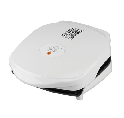 The Champ Grill with cleaning sponge GR10WSP1: Enjoy less clean-up time with this small white easy-to-clean grill from George Foreman