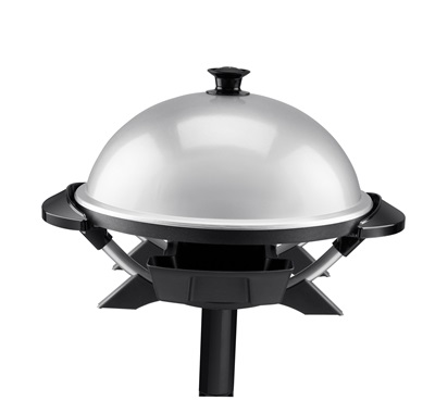 The Indoor/Outdoor Domed Grill GGR200RDDS: Enjoy electric grilling inside or outside with this jumbo silver grill from George Foreman