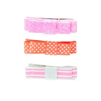 Girls Bright Pink Orange Bow Contour Clips