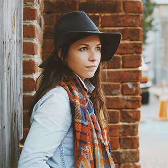 remington instagram girl in hat and plaid scarf by brick wall