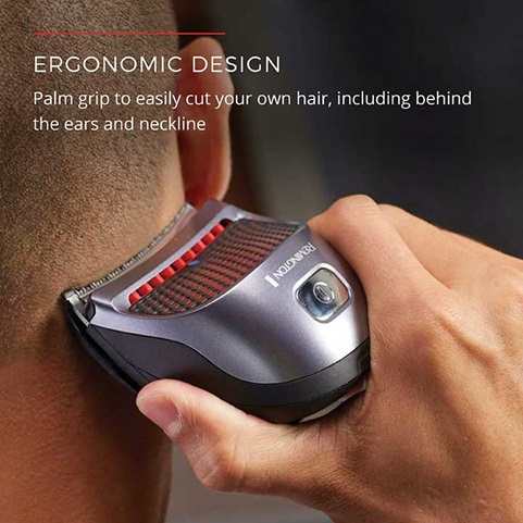 Ergonomic Design - Palm grip to easily cut your own hair, including behind the hears and neckline