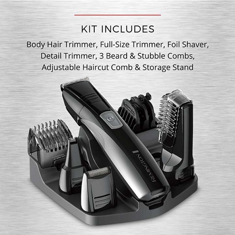 Kit Includes: Body hair trimmer, full-size trimmer, foil shaver, detail trimmer, 3 beard and stubble combs, adjustable haircut comb and storage stand