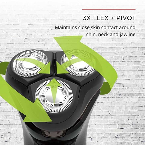 3X Flex and Pivot - Maintains close skin contact around chin, neck and jawline