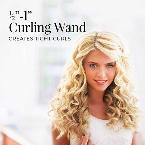 half inch to 1 inch curling wand creates tight curls