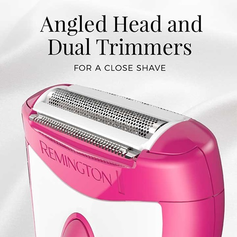 Angled Head and Dual Trimmers for a Close Shave