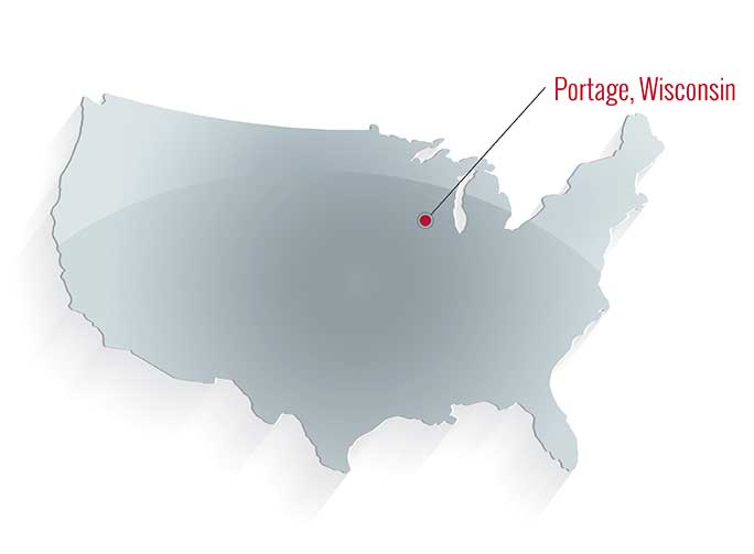 rendering of the united states highlighting portage wisconsin