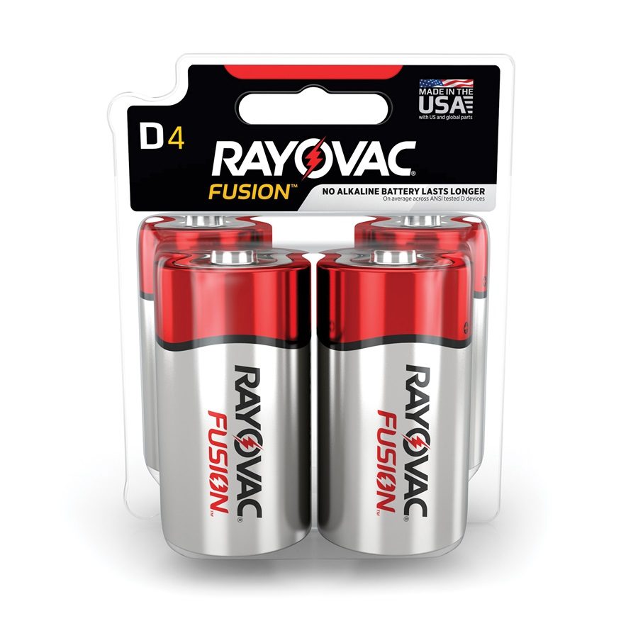 RAYOVAC® Fusion alkaline batteries D 4 Pack