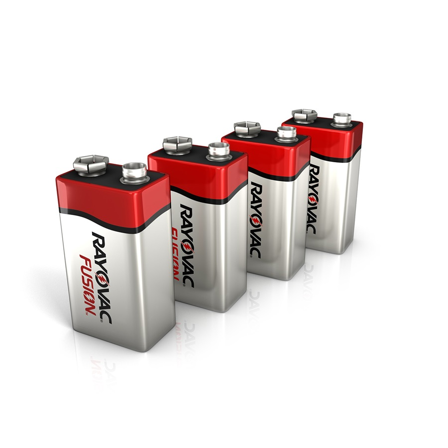 RAYOVAC® fusion™ alkaline 9V size batteries 4 pack