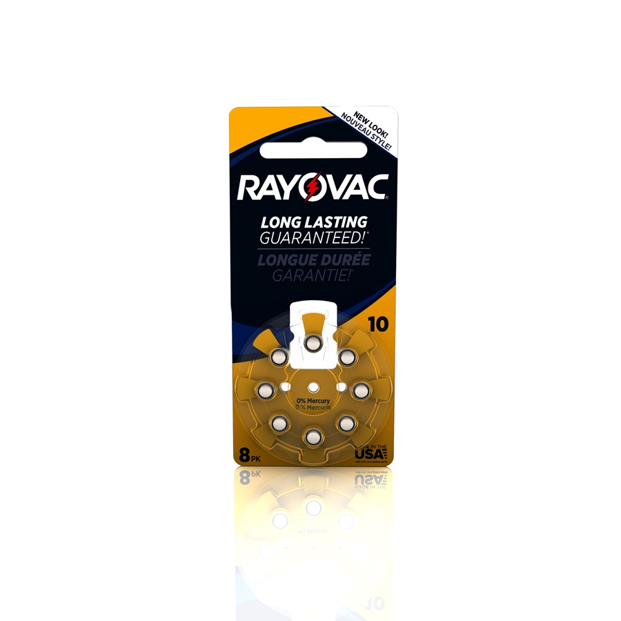 RAYOVAC® hearing aid batteries size 10 8 pack