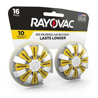 compact design rayovac hearing aid battery size 10 16 pack