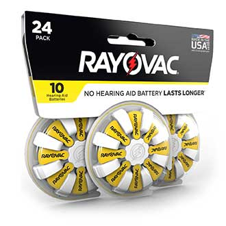 compact design rayovac hearing aid battery size 10 24 pack