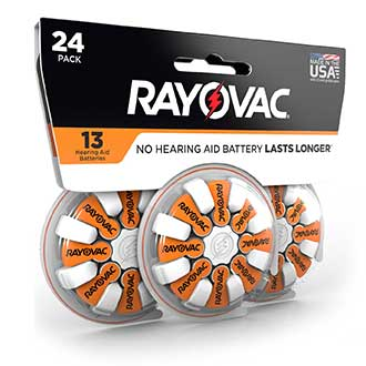 compact design rayovac hearing aid battery size 13 24 pack
