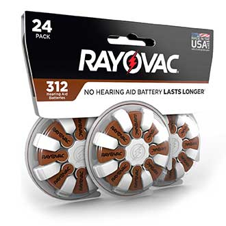 compact design rayovac hearing aid battery size 312 24 pack