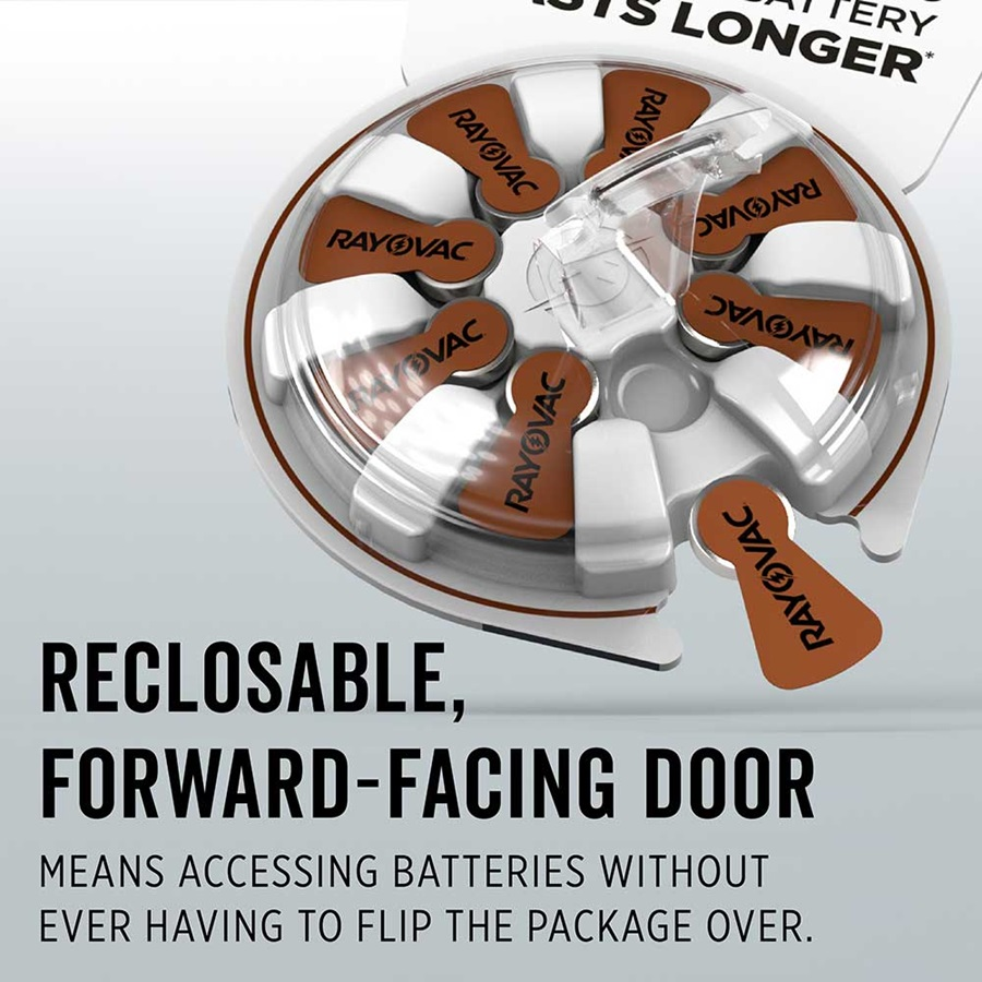 reclosable forward facing door means accessing batteries without ever having to flip the package over