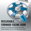 reclosable forward facing door means accesing batteries without ever having to flip the package over