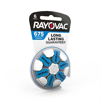 compact design rayovac hearing aid battery size 675 6 pack