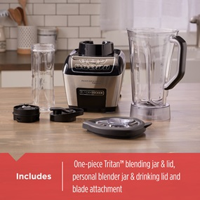 includes blending jar and lid, personal blender jar and drinking lid, and blade attachment
