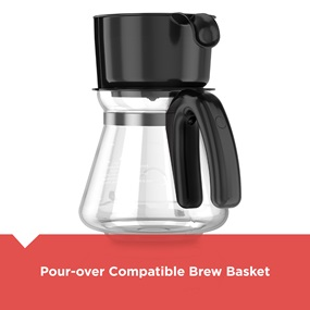 black and decker 5 in 1 coffee maker showing pour over method cm0755s