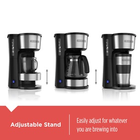 black and decker 5 in 1 coffee maker showing different brew heights available cm0755s