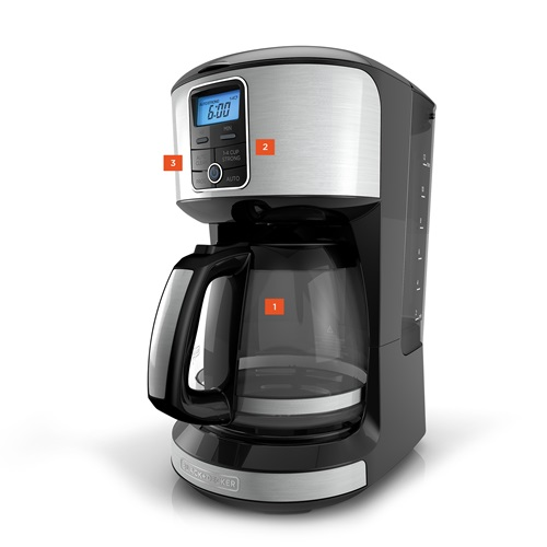 Black+Decker™ 12 cup programmable coffee maker stainless steel cm4100s