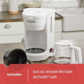 includes glass carafe and removable filter basket dcm600w