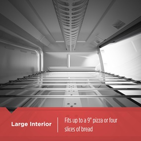 large interior can fit up to a 9 inch pizza or four slices of bread TO1745SSG