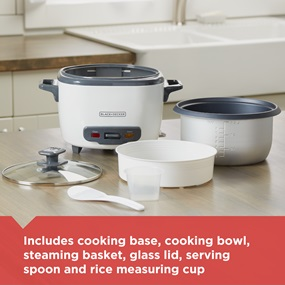 includes cooking base, cooking bowl, steaming basket, glass lid, serving spoon, and measuring cup