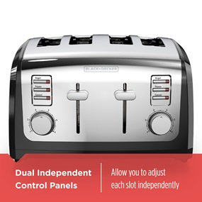 dual independent control panels - black and decker T4030 4 slice toaster