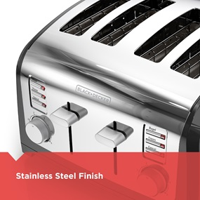 stainless steel finish - black and decker T4030 4 slice toaster