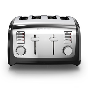 black and decker T4030 4 slice toaster, bagel toaster in stainless steel and black
