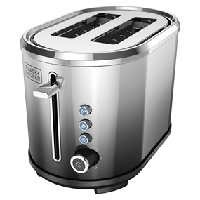 Black+Decker™ 2 slice toaster brushed steel tr2300fb