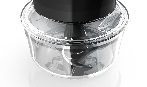 Chopper fits on most standard 4-cup glass bowls, and disassembles for easy cleanup.