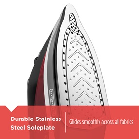 Durable Stainless Steel Soleplate glides smoothly across all fabrics