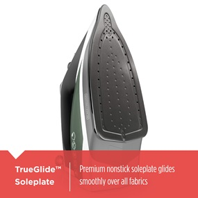 TrueGlide™ Soleplate premium nonstick soleplate glides smoothly over all fabrics