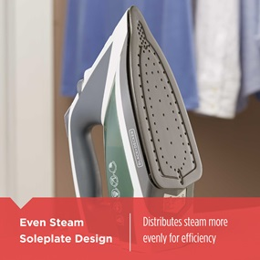 Even Steam Soleplate Design distributes steam more evenly for efficiency