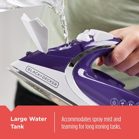 Large Water Tank - Accommodates spray mist and teaming for long ironing tasks