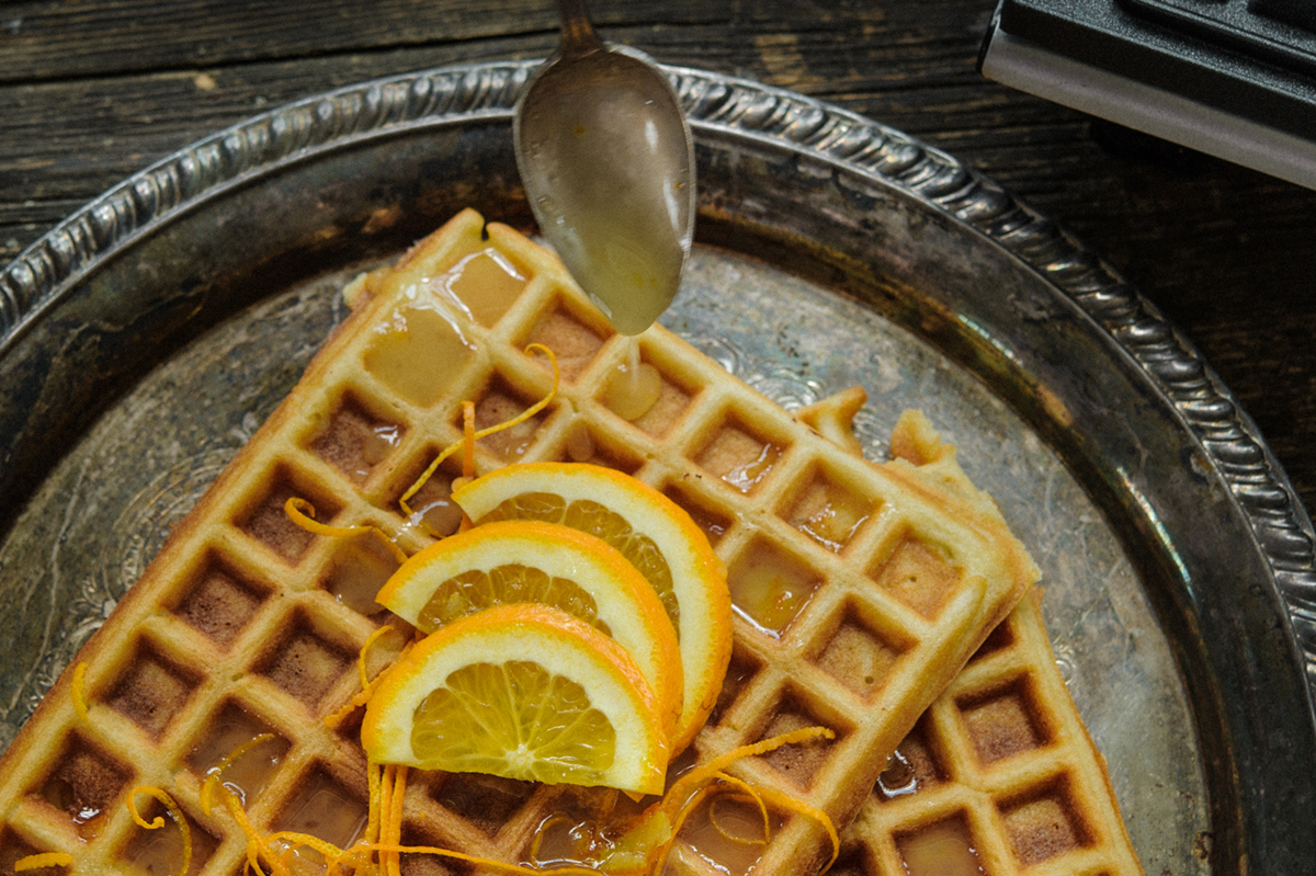 George Foreman® gluten free almond waffles with orange glaze