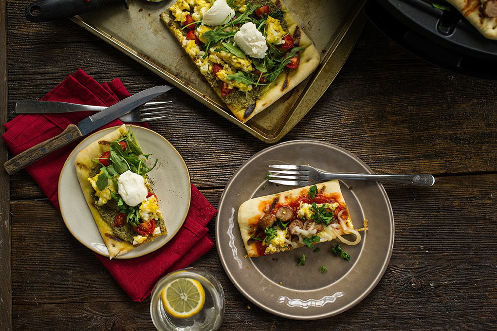 Grilled Flatbread Breakfast Pizza Duo Recipe