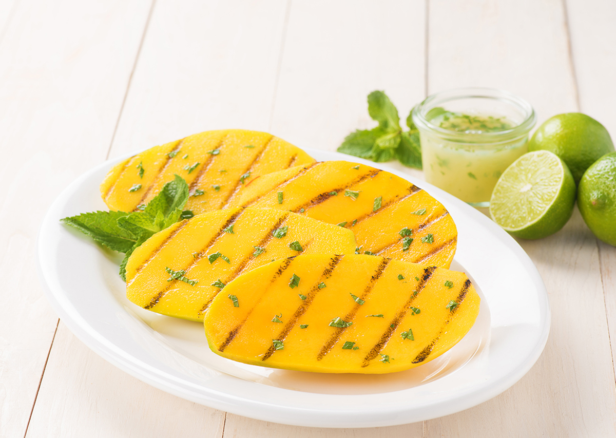 Grilled Mango with Lime-Mint Sauce