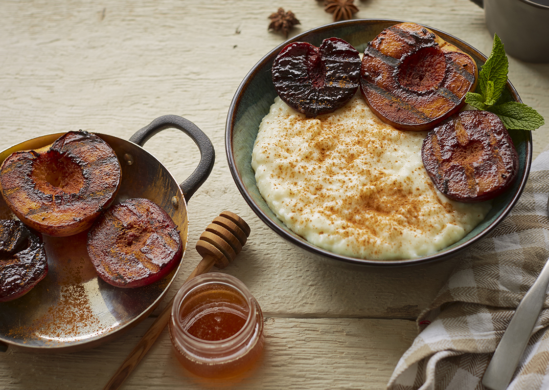 Grilled Stone Fruit with Rice Pudding