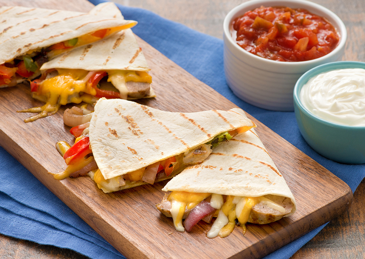 Grilled Sausage and Pepper Quesadillas