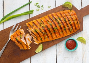 Maple Sriracha Cedar Plank Salmon