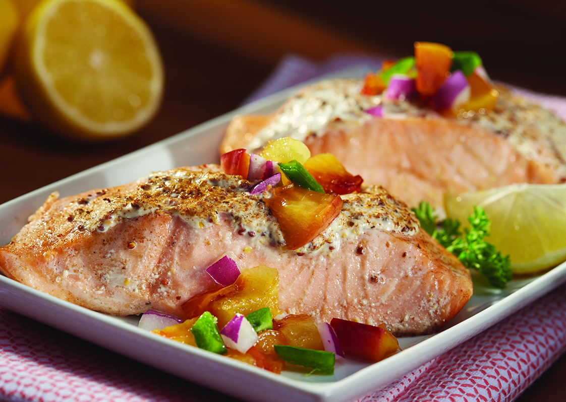 Salmon with Creamy Mustard Topping
