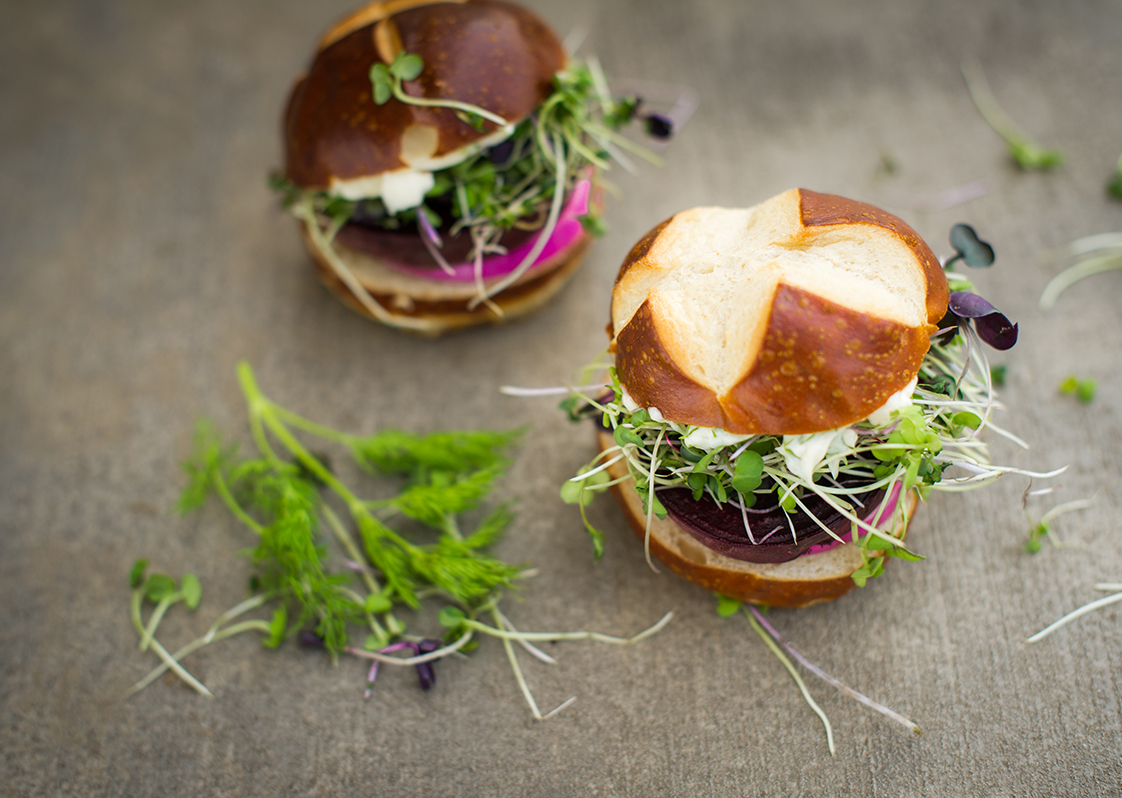 Beet Sliders with Micro Greens and Dill Mayo
