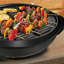 GFO240TGM George Foreman 15+ Serving Indoor|Outdoor Grill with Temperature Gauge Removeable Stand