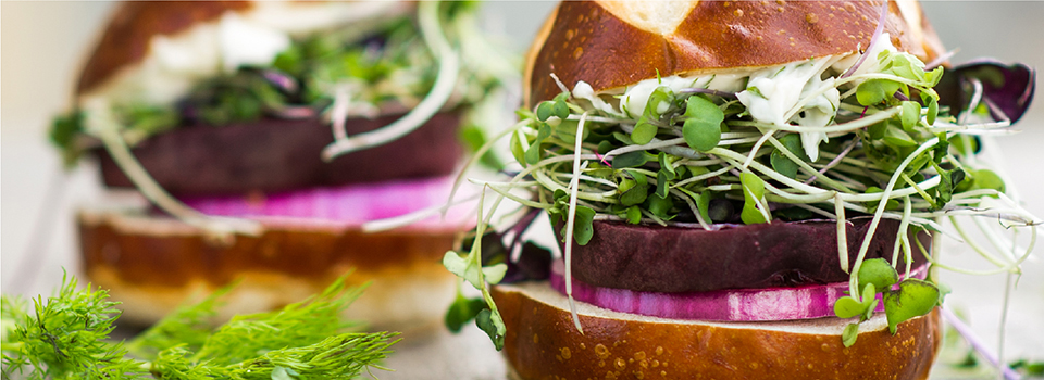 george forman gr2144bp basic grill beet sliders with micro greens